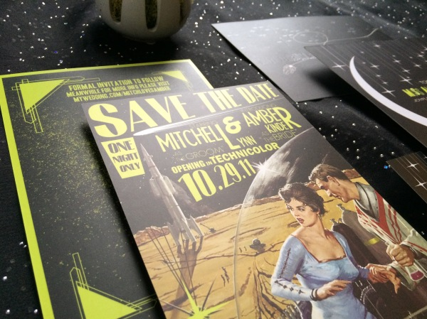 My wedding retro outerspace save the date